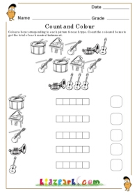 Count And Colour Music Instrument Teachers Printables