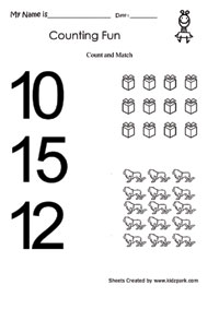 Count and Match Worksheets, Numbers Printable Activity