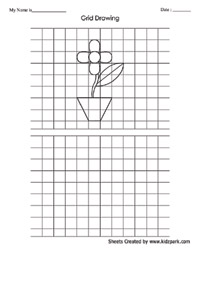 Grid Art Drawing Flower Worksheet Activty Sheets For