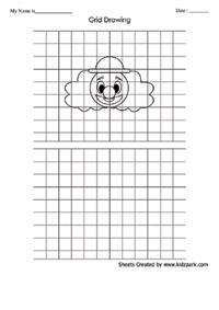 Art Grid Clown Drawing Worksheet For UKG, Art Grid Drawing