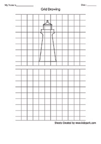 Grid Art Drawing Flower Worksheet, Activty Sheets for