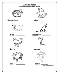 Jumbled Words Worksheets, Activity Sheets for Kids
