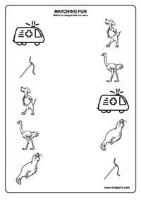 LKG Worksheet For Kids Matching Activities,Printable