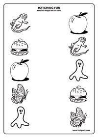 LKG Worksheet For Kids Matching Activities,Printable