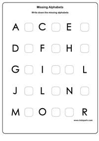 Learning English Missing Alphabets Activity Sheet