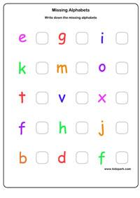 Missing Letter Worksheets, Activity Sheets for kids