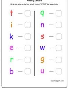Missing alphabets worksheet alphabet also next letter worksheetsenglish worksheets for kidsdownloadable rh kidzpark