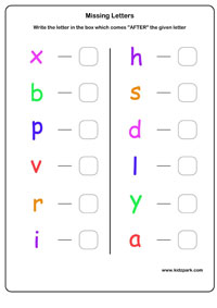 English Alphabets Learning Next Letter Worksheets
