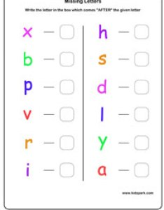 Missing alphabets worksheet alphabet also english learning next letter worksheetskindergarten rh kidzpark
