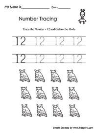 Number 12 Tracing Worksheet For Preschool. Number. Best