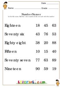 Number Names Worksheets Teacher Resource Worksheets Math