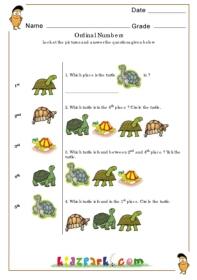 Ordinal Numbers Worksheet Play School Activity Sheet