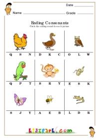 Ending Consonants Worksheets Ending Sounds Worksheets For