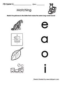 Grade 2 Long Vowels Sound Matching Worksheet,Activity