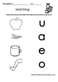 Class 1 Short Vowels Activity Sheet For Kids,Alphabet