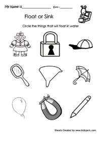 Class 2 Activity Sheet To Circle That Float In Water