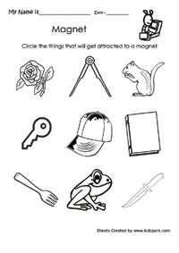 Worksheet To Circle The Thing That Magnet Attracks,Grade 2