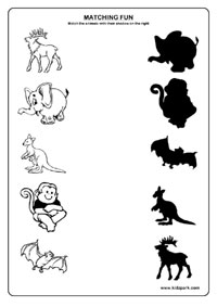 Shadow Fun Worksheets , Activity Sheets for kids, Funs