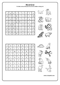 Printable Worksheets,Word Grid Worksheets,Educational