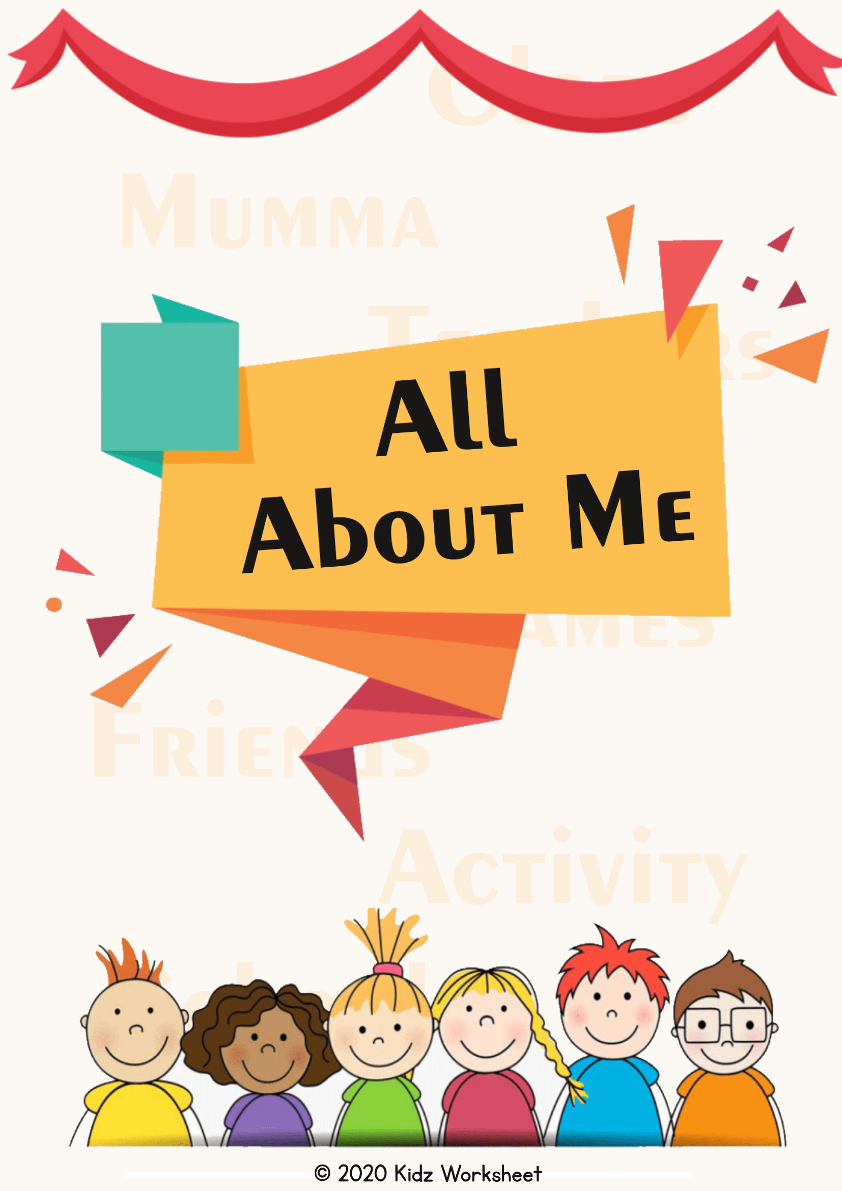 All About Me Printable Colorful Activity Worksheet For