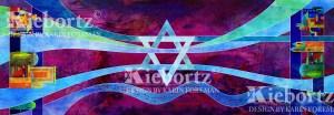 Jewish Prayer Shawl - Purple Silk Jerusalem
