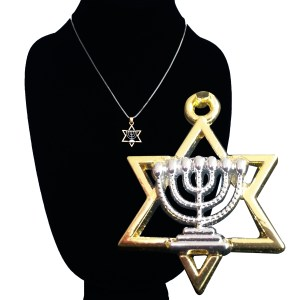 Jewish Menorah Star David Charm Necklace2