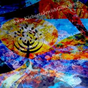 Silk Jewish Tree Menorah Prayer Shawl