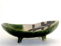 脚付楕円鉢(横)