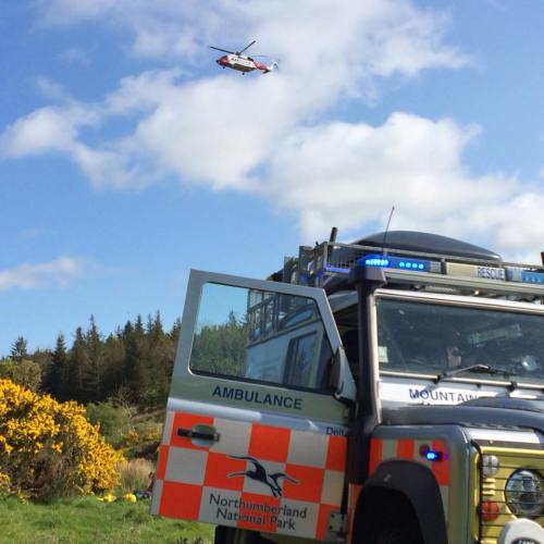 Coastguard helicopter arriving on scene at Kyloe Crags Northumberland.