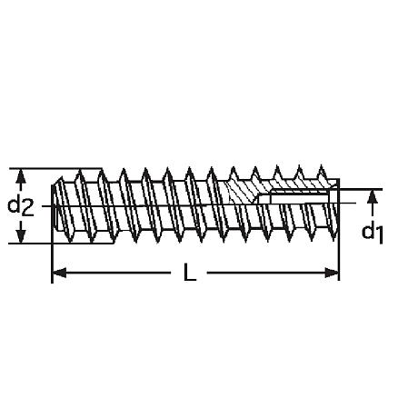 Douilles filetées RAMPA® type BL en acier zingué-bleu