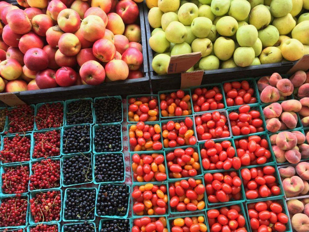 Seasonal produce at a farmers market.