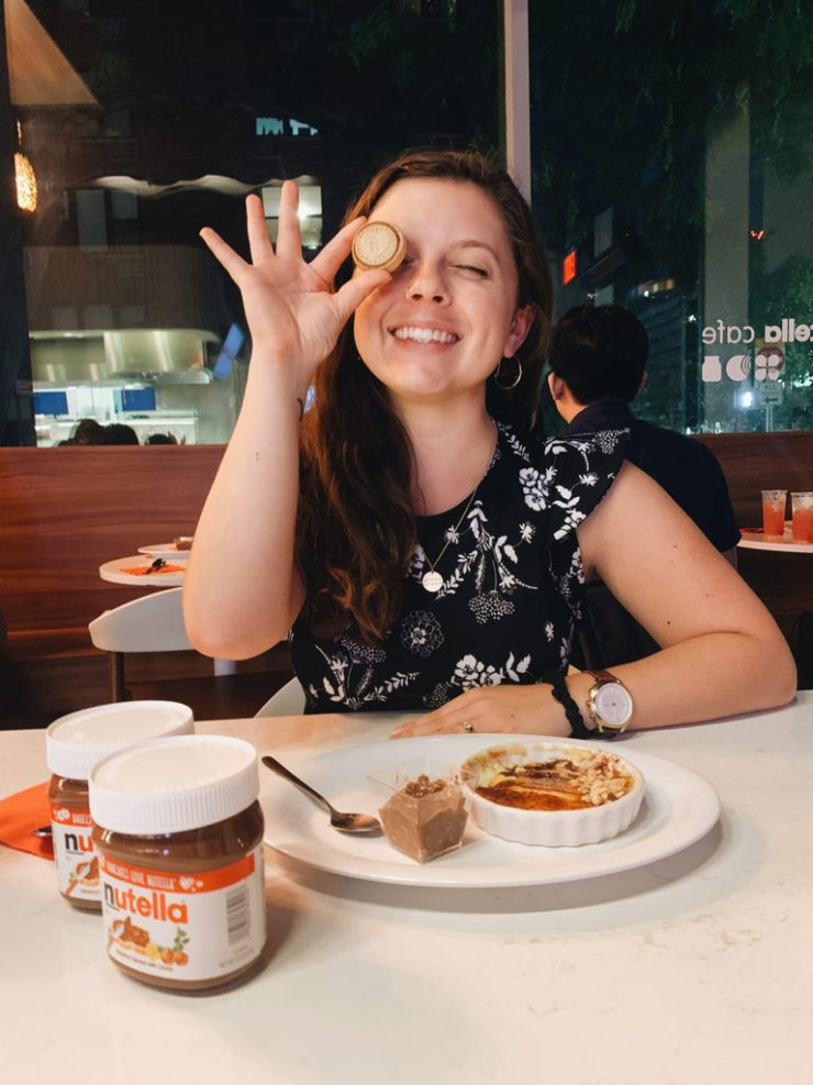 Kiersten hickman at the nutella cafe in new york city