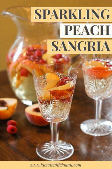 Sparkling peach sangria pin for Pinterest