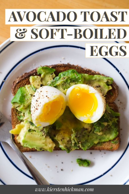 avocado toast with soft boiled eggs pin for pinterest
