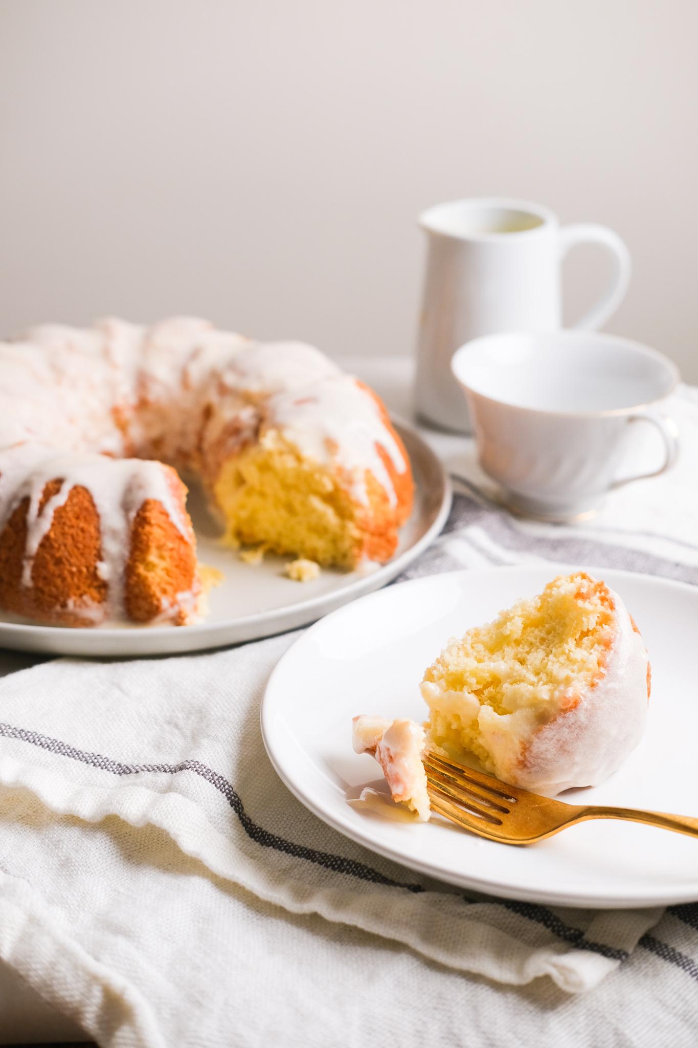 slice of lemon sponge cake on the table