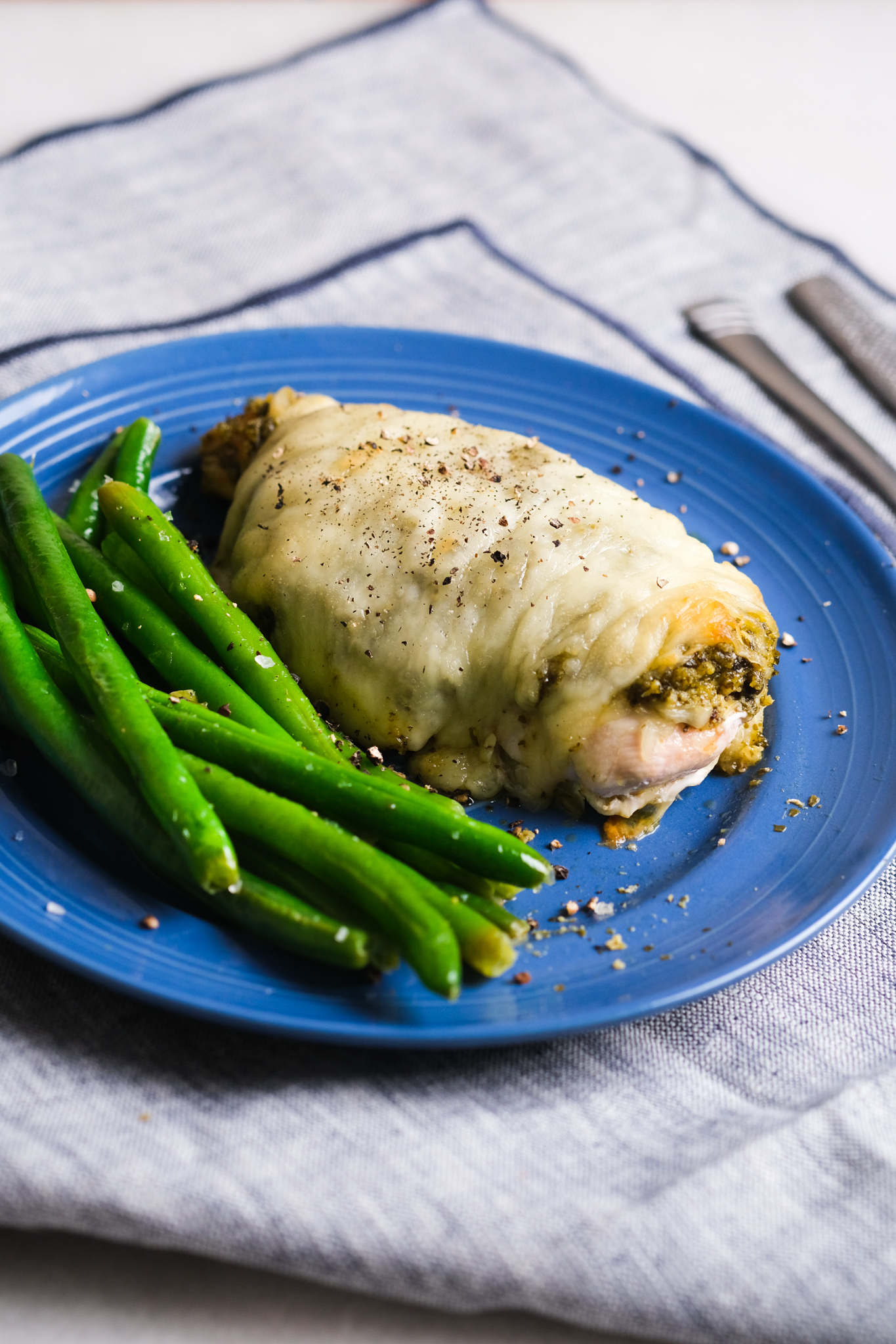 pesto chicken with green beans