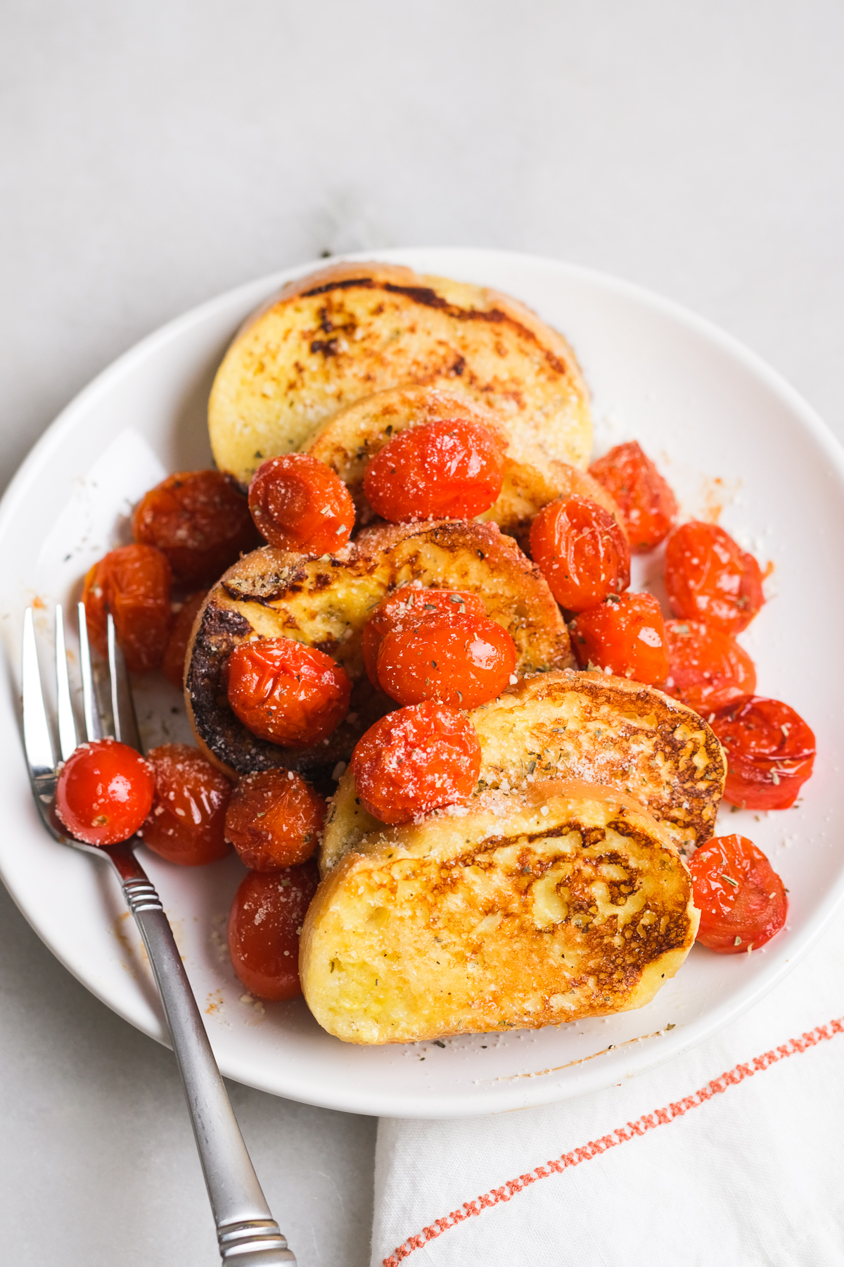 savory french toast with roasted cherry tomatoes