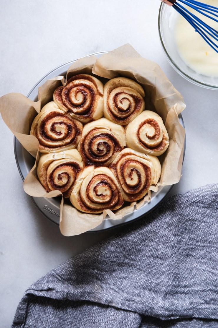 sourdough cinnamon rolls post bake