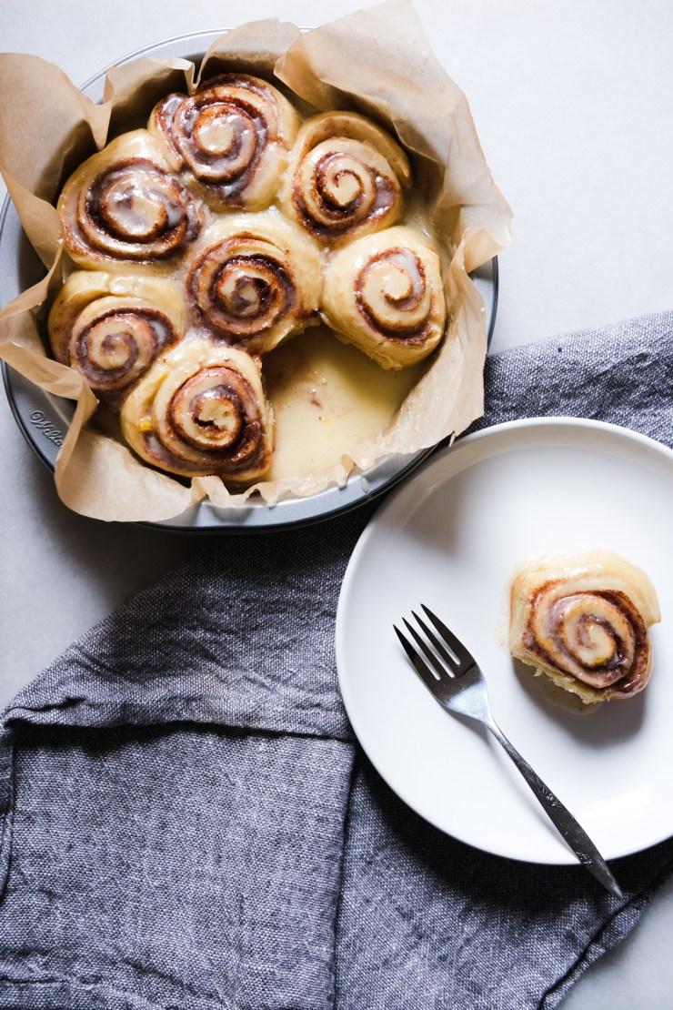 sourdough cinnamon rolls with orange glaze