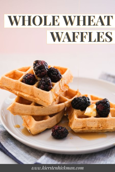 whole wheat waffles with blackberries and maple syrup