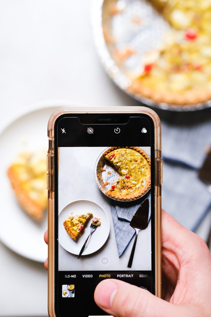 taking a food photo with an iphone