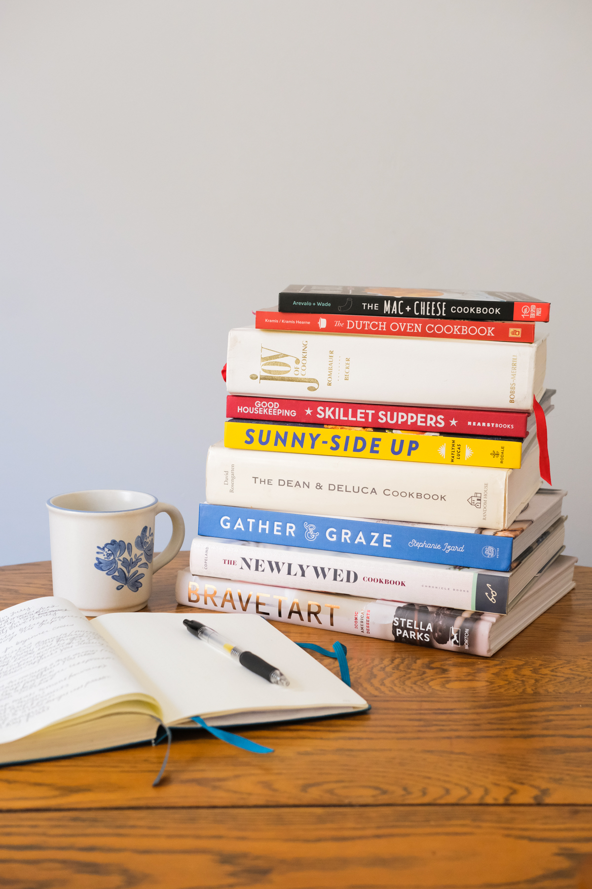 stack of cookbooks with coffee and a notebook