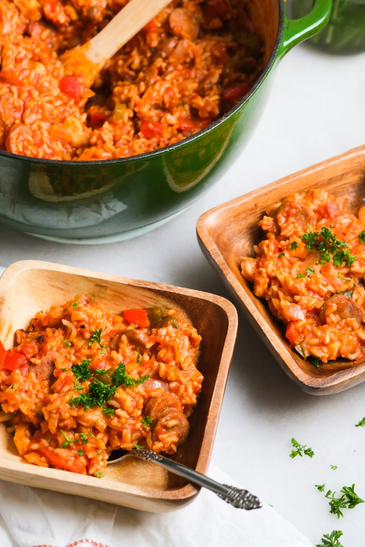 two bowls of spicy jambalaya