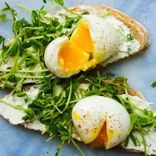 Jammy Eggs on Toast with Scallion Cream Cheese