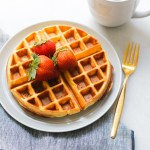 protein waffle recipe with strawberries and coffee