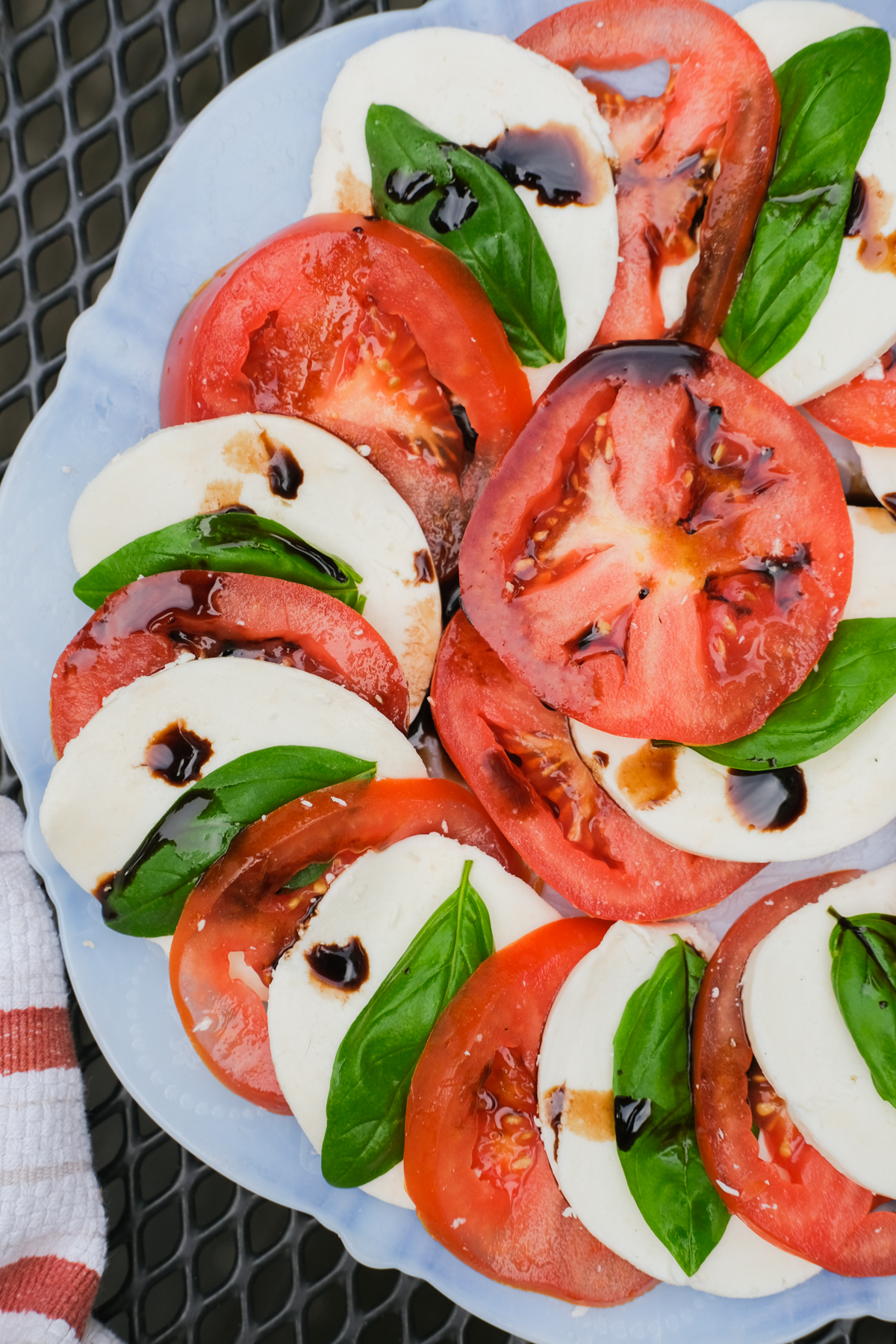 caprese salad with balsamic on a plate