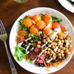 buffalo chickpea salad with ranch dressing and white wine