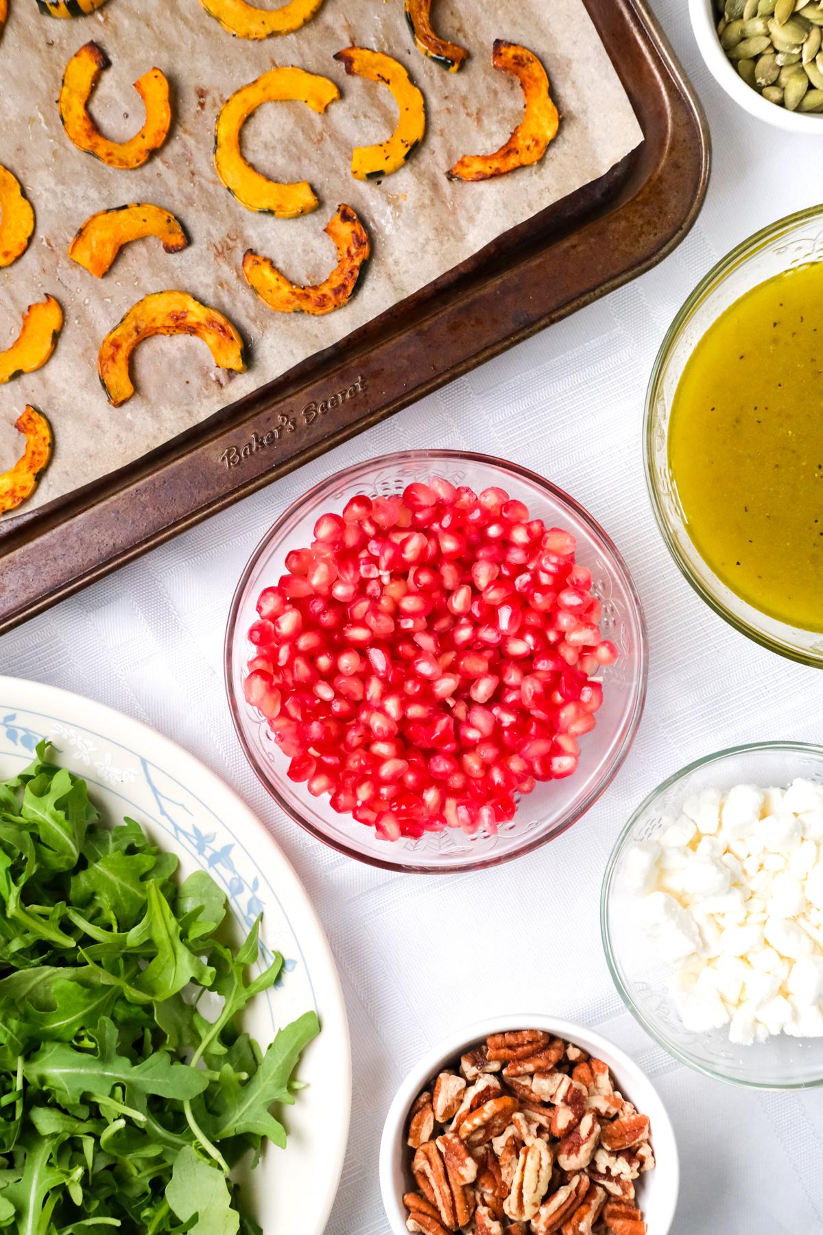 ingredients for a delicata squash salad