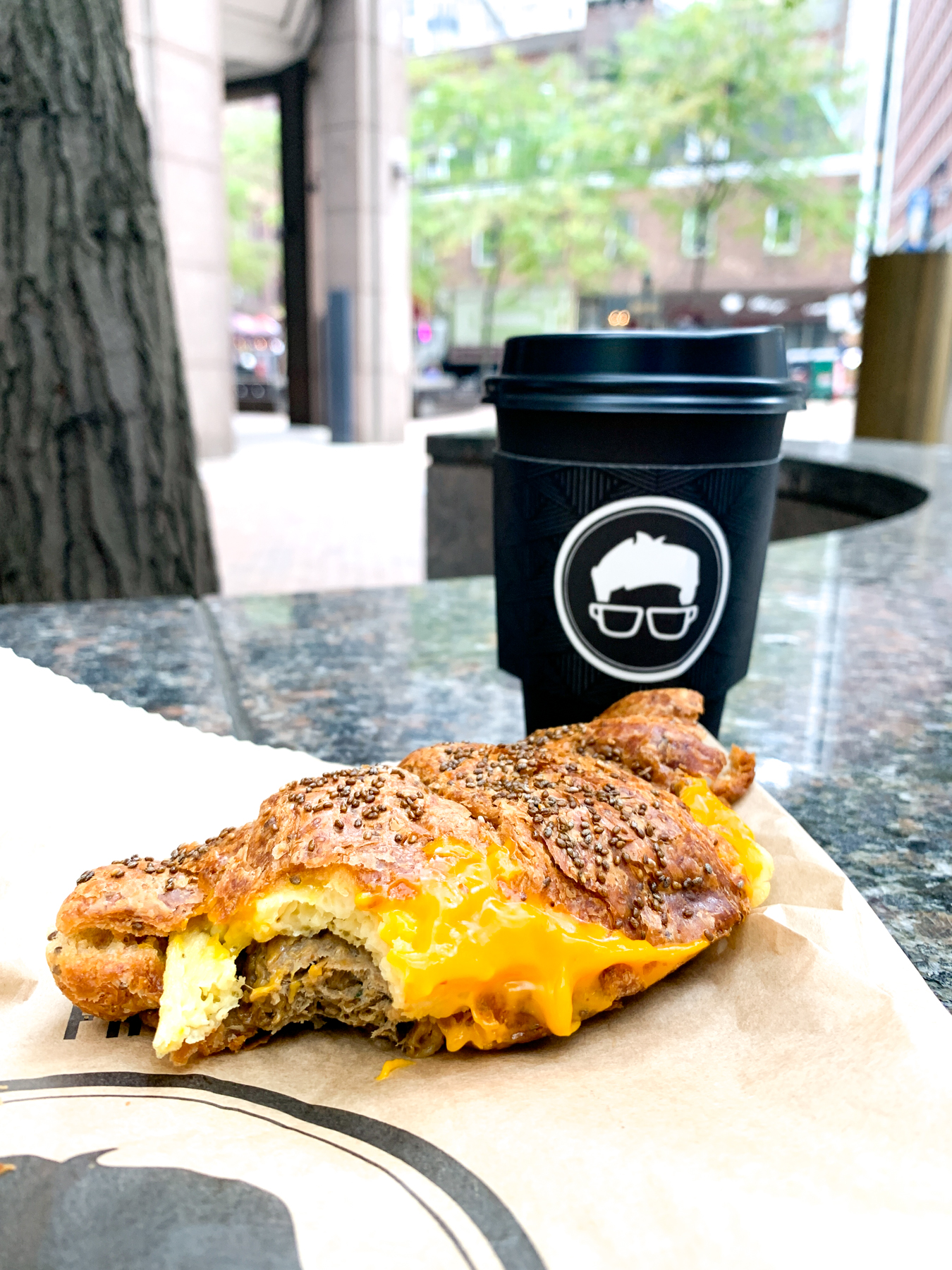 vegan deluxe breakfast sandwich from gregorys coffee made with vegan egg