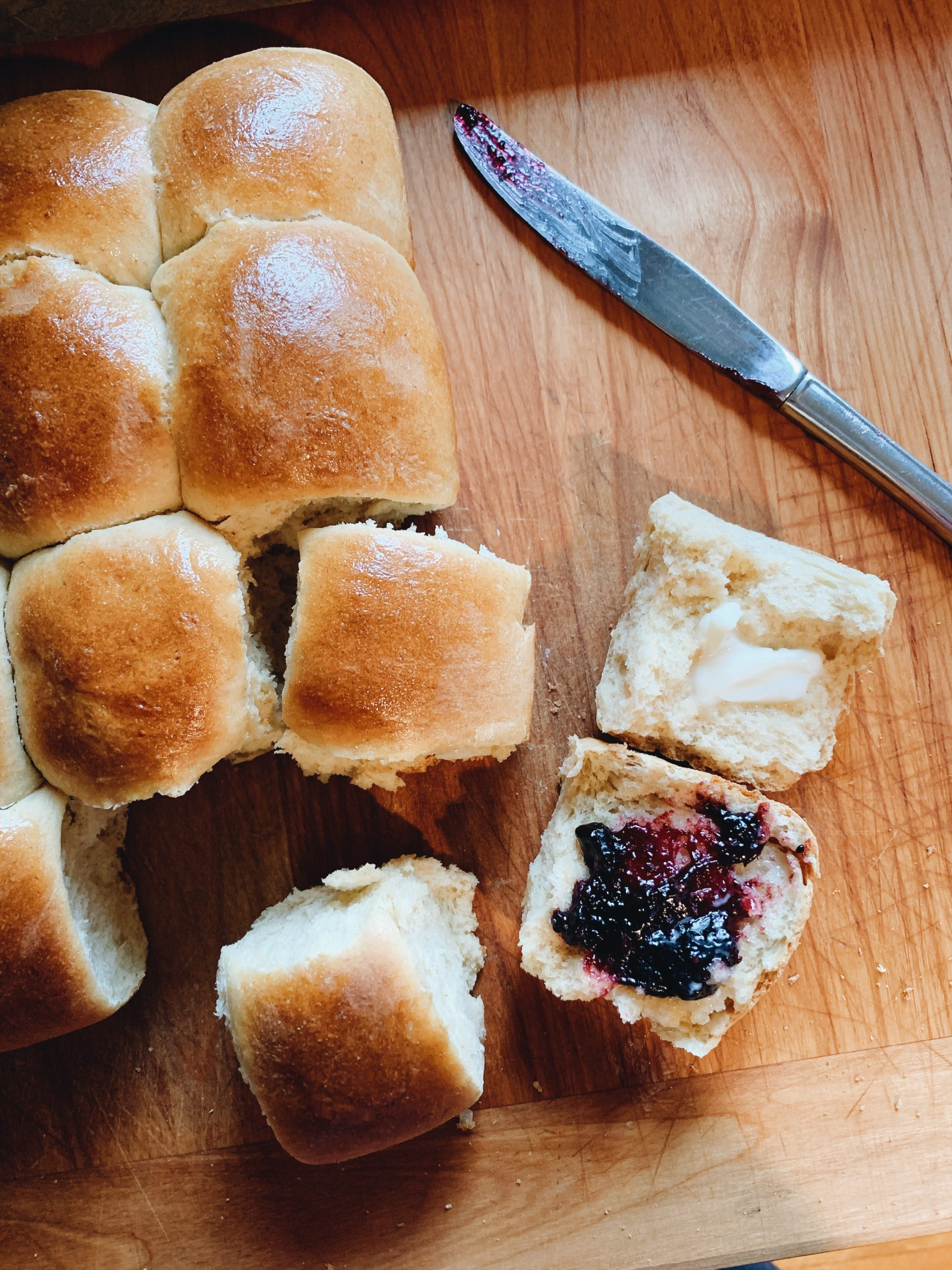 homemade rolls with jam